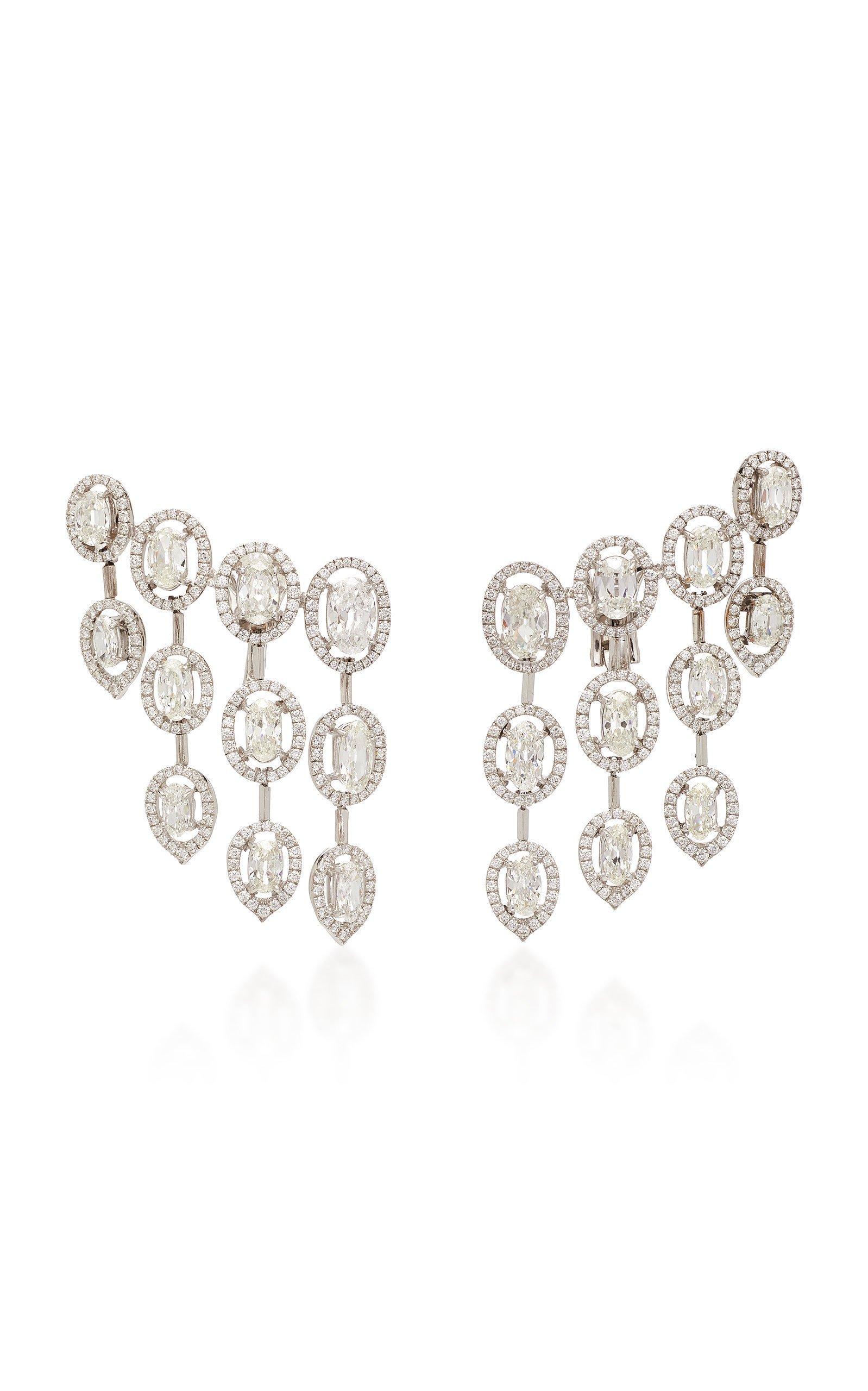 Busatti Oval Raindrop 18K White Gold And Diamond Earrings