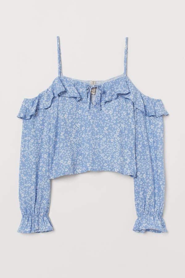 Patterned Open-shoulder Blouse - Blue