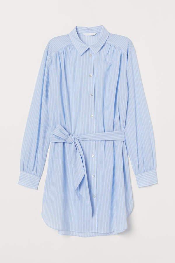Long Shirt with Tie Belt - Blue