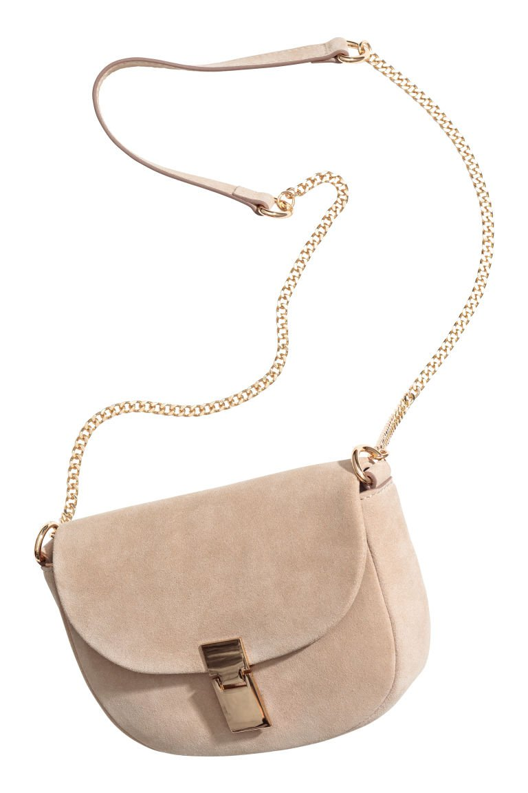 Suede Shoulder Bag - Light beige - | H&M US