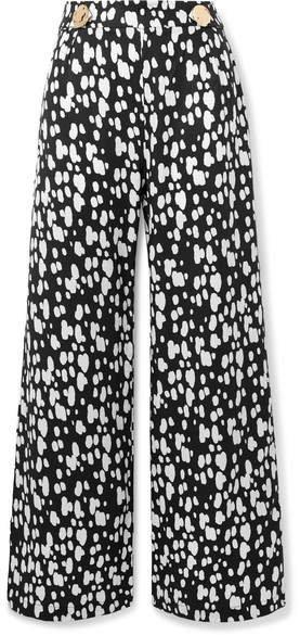 Embellished Printed Lyocell Wide-leg Pants - Black