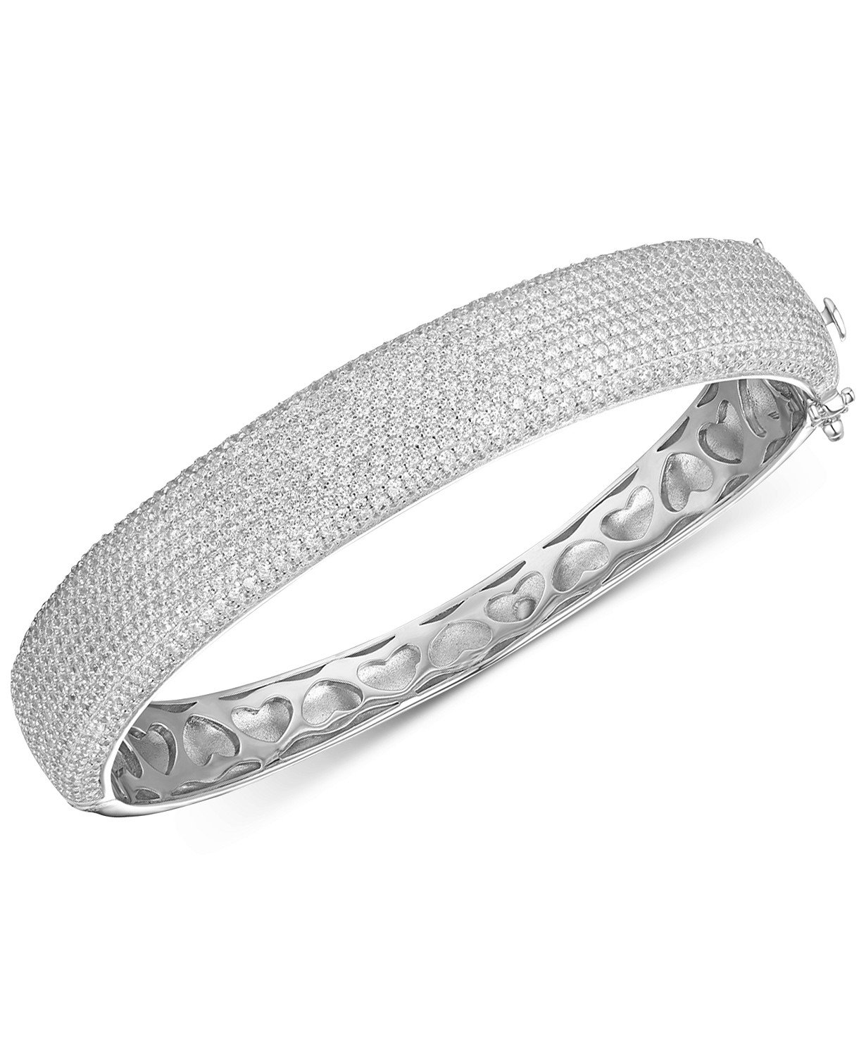 Sterling Silver Tiara Cubic Zirconia Pavé Statement Bangle Bracelet