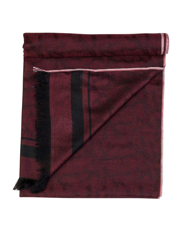 Isaia Cashmere Striped-Trim Scarf