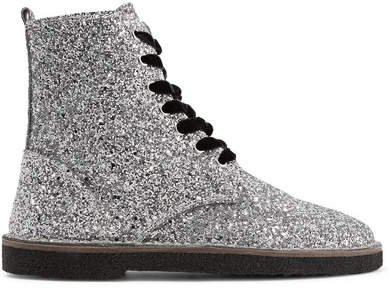 Glittered Leather Ankle Boots - Silver