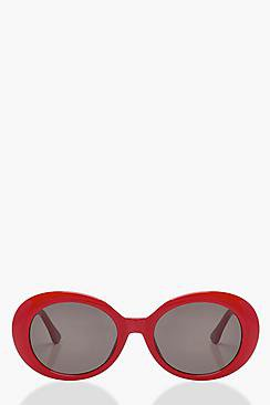 Lucy Oval Red Round Sunglasses