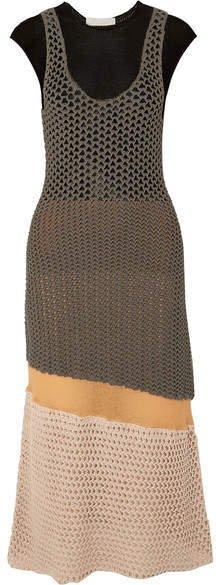 Crocheted Cotton-blend Midi Dress - Brown