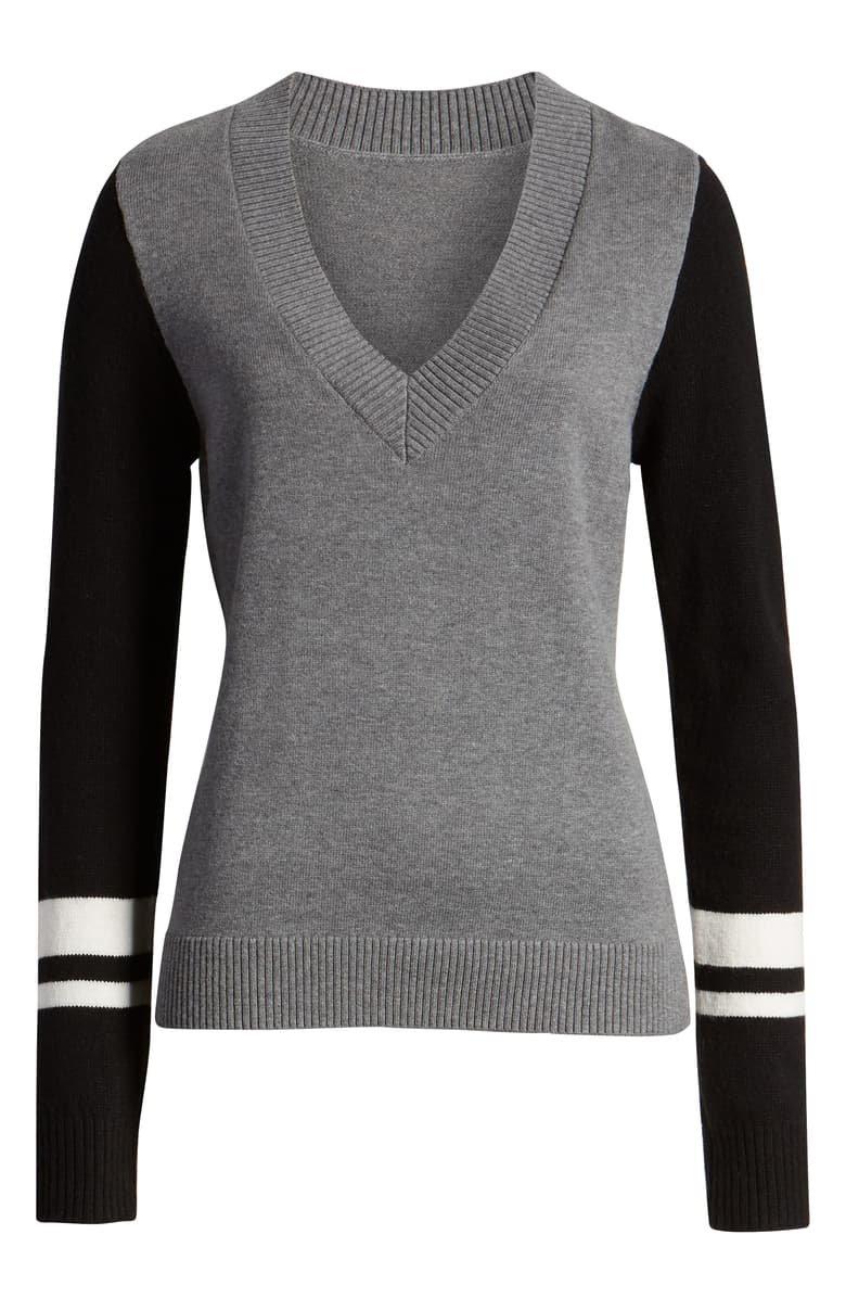 Treasure & Bond Stripe V-Neck Sweater grey