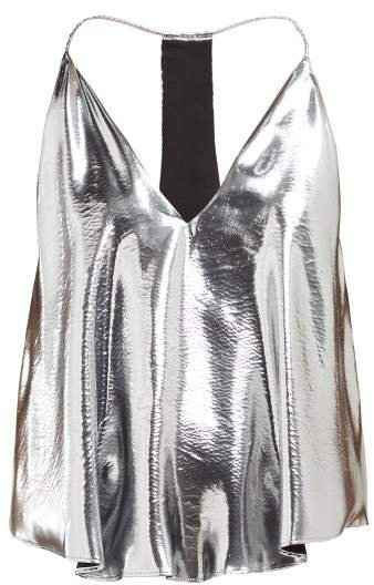Racerback Metallic Silk Blend Camisole - Womens - Silver