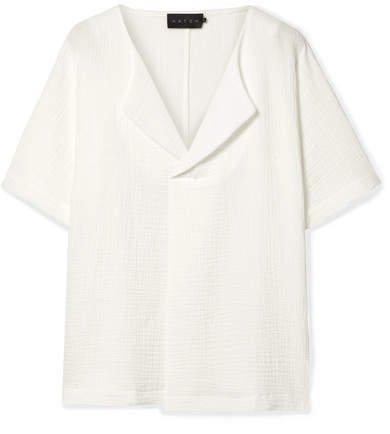 The Ines Cotton-seersucker Blouse - White