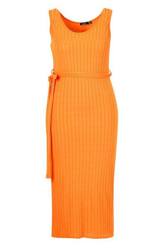 Recycled Rib Tie Waist Midi Dress | Boohoo