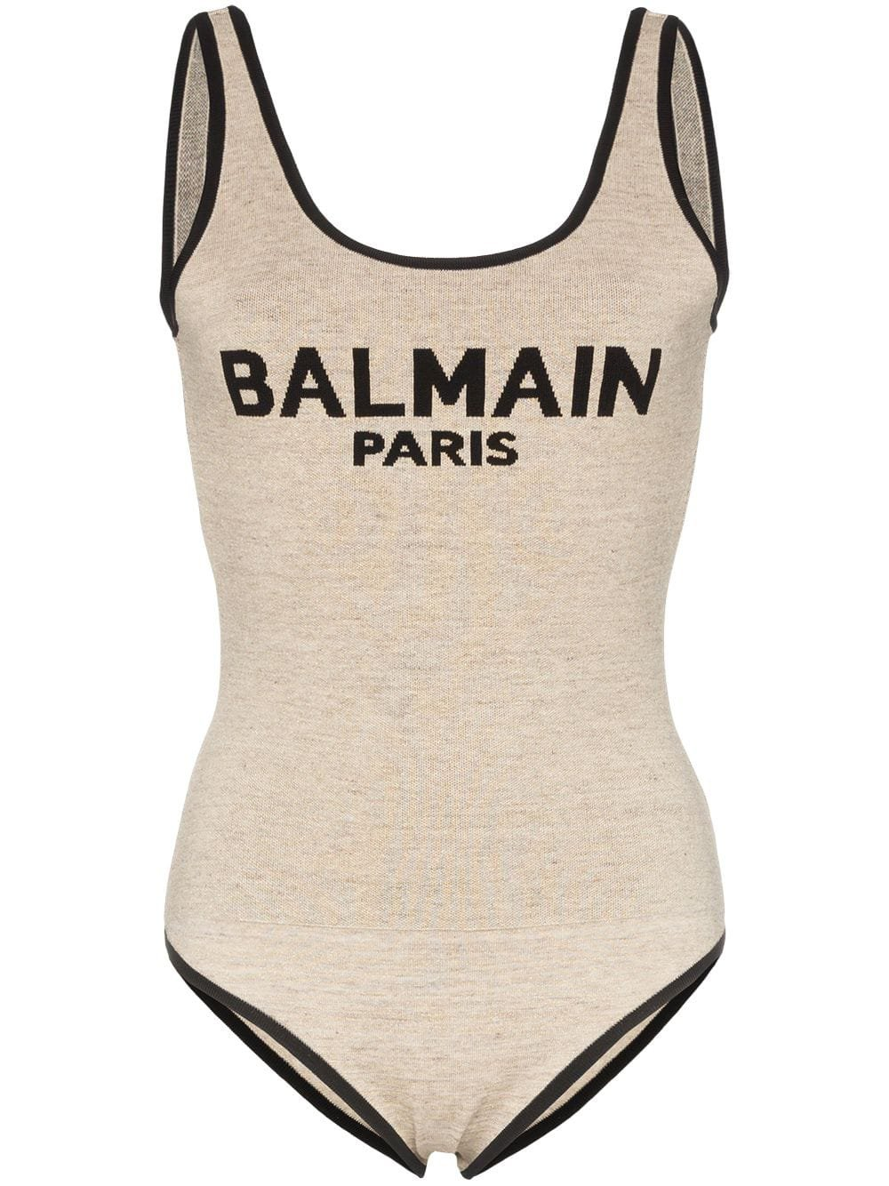 Balmain Sleeveless Logo Intarsia Linen Blend Body - Farfetch