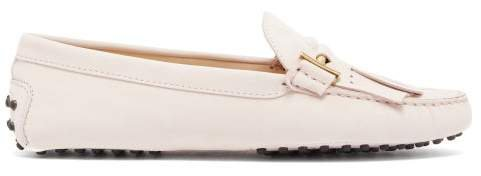 Gommino Fringed Nubuck Loafers - Womens - Light Pink