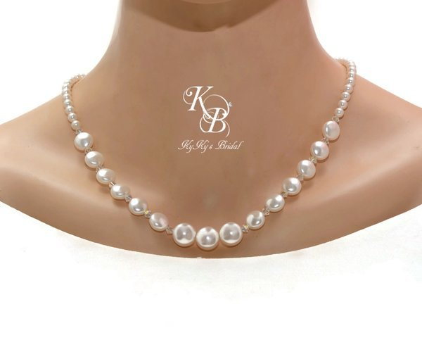 Coin Pearl Necklace, Pearl and Crystal Necklace, Pearl Bridal Necklace, Prom Jewelry, Wedding Jewelry, Bridal Jewelry, Formal Jewelry | KyKy's Bridal, Handmade Bridal Jewelry, Wedding Jewelry