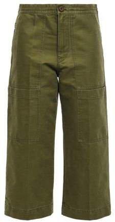 Cropped Cotton-twill Wide-leg Pants