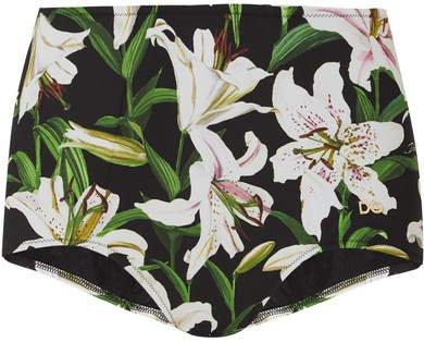 Floral-print Bikini Briefs - Green