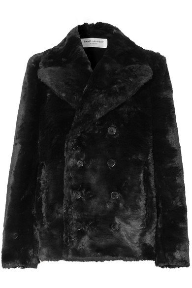 SAINT LAURENT | Double-breasted faux fur jacket | NET-A-PORTER.COM