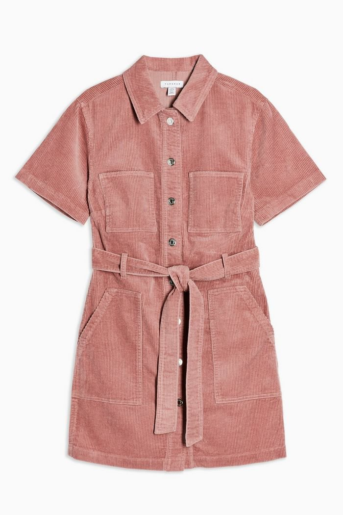 Pink Corduroy Short Sleeve mini Dress | Topshop