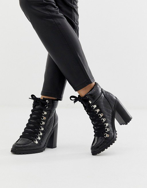 New Look chunky croc heeled boot in black | ASOS