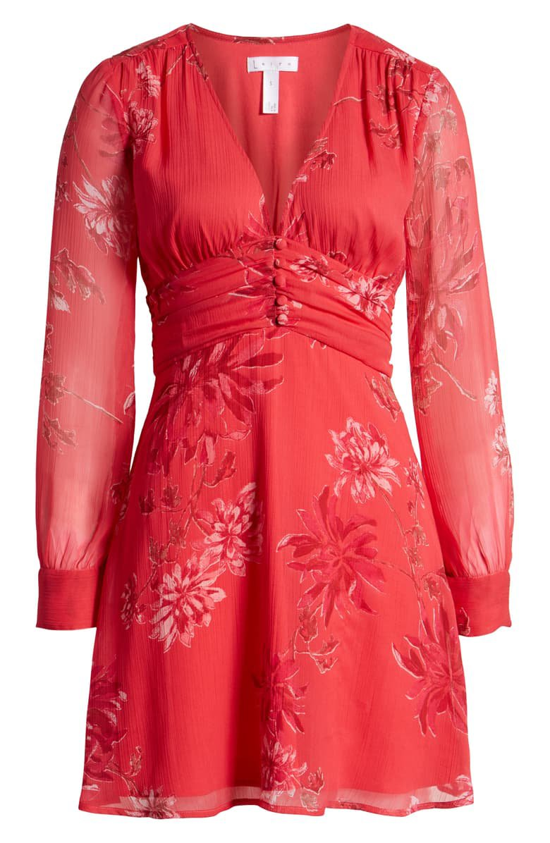 Leith Floral Shirred Waist Long Sleeve Dress (Regular & Plus Size)   Nordstrom