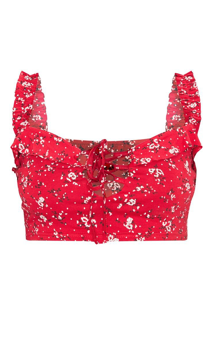 Red Ditsy Floral Frill Detail Crop Top   Tops   PrettyLittleThing