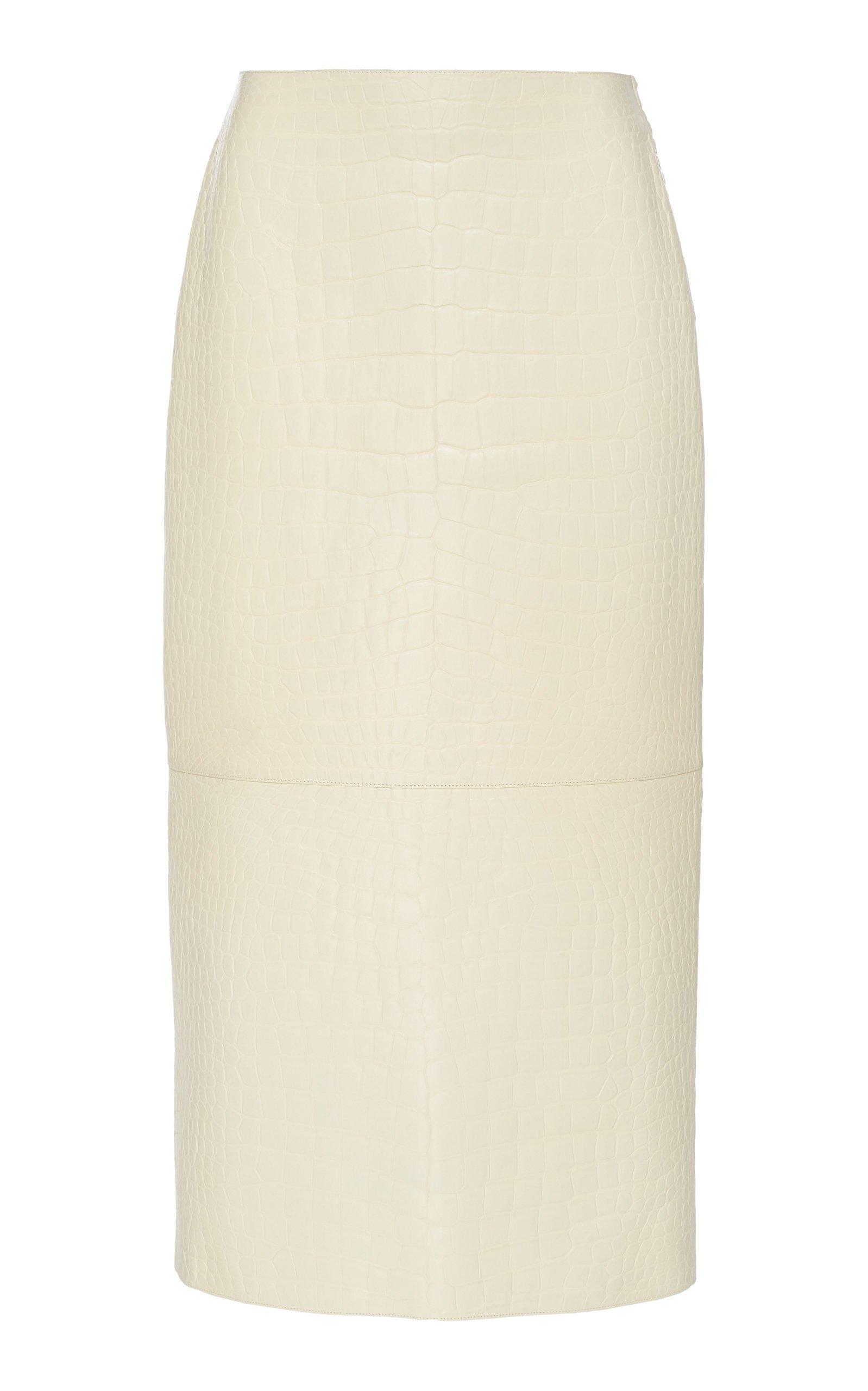The Row Jenna Crocodile Midi Skirt Size: 8