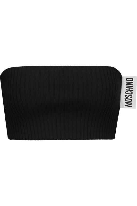 MOSCHINO Ribbed Wool Bandeau Top.