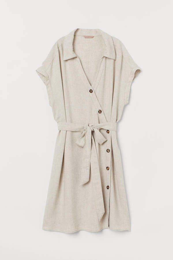 Linen-blend Shirt Dress - Beige
