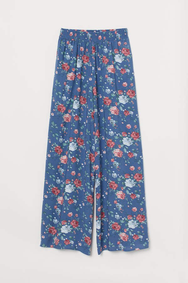 Wide-leg Pants - Blue