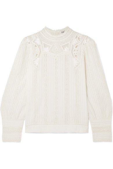 SEA   Aster lace-trimmed cotton-blend blouse   NET-A-PORTER.COM