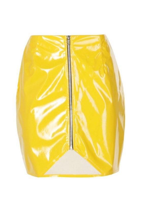 Zip Front Vinyl Mini Skirt | Boohoo