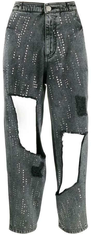 sequinned studded jeans