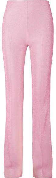 Metallic Lurex Flared Pants - Blush