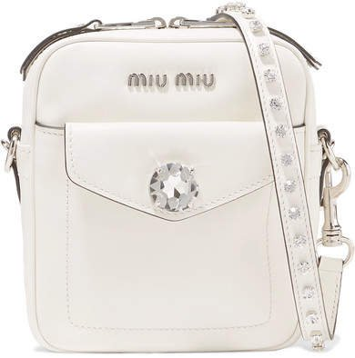Solitaire Crystal-embellished Leather Camera Bag - White