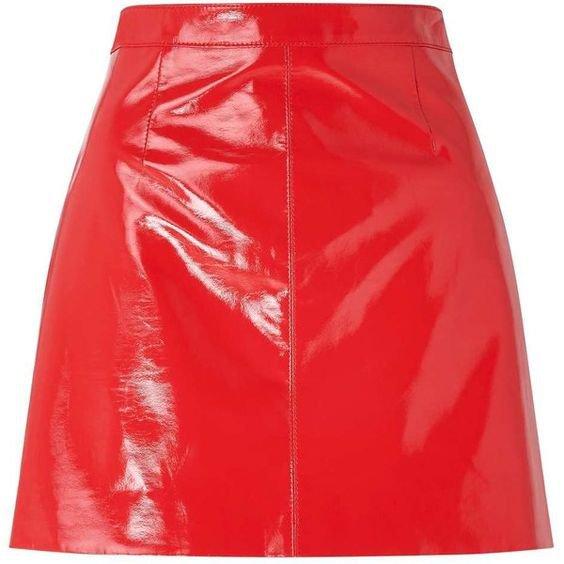 Miss Selfridge Red Vinyl A-line Skirt