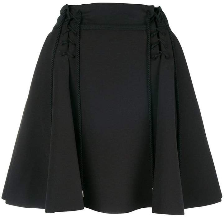 high-waisted flared skirt