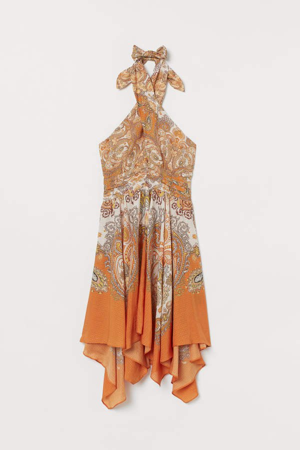 Lyocell-blend Dress - Orange