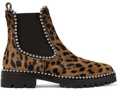 Spencer Studded Leopard-print Calf Hair Chelsea Boots - Leopard print