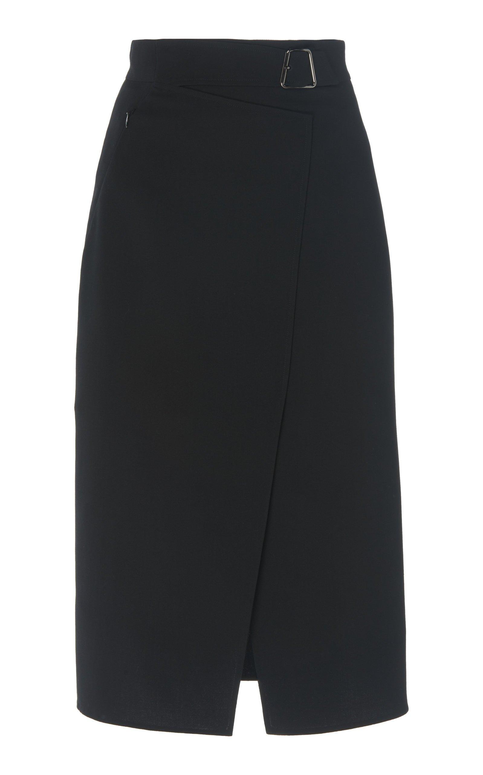 Akris Wrap-Effect Wool Pencil Skirt Size: 12