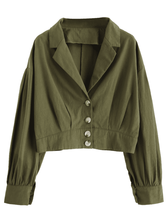 [49% OFF] 2019 Lapel Drop Shoulder Button Up Blouse In CAMOUFLAGE GREEN XL   ZAFUL