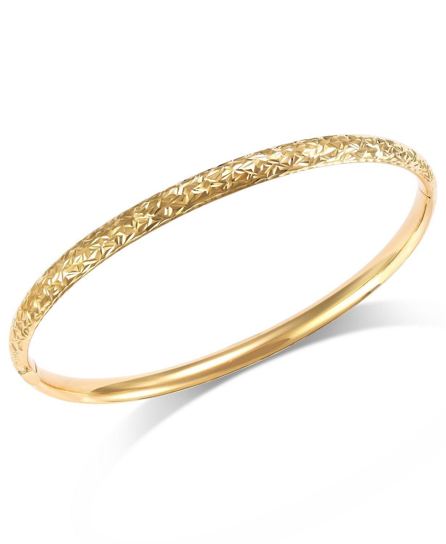 Macy's 14k Gold Crystal-Cut Hinge Bangle Bracelet