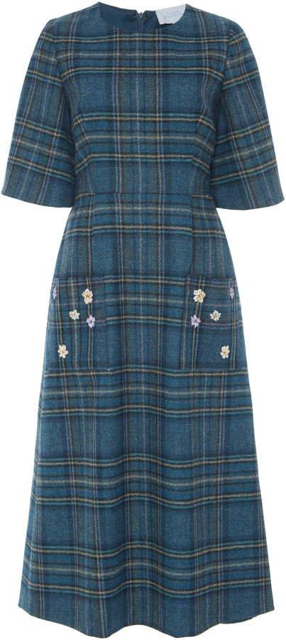 Embroidered Plaid Virgin Wool Dress