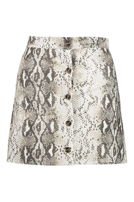 Button Through Snake A Line Mini Skirt | Boohoo