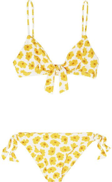 Laurent And Abbey Tie-detailed Floral-print Triangle Bikini - Yellow