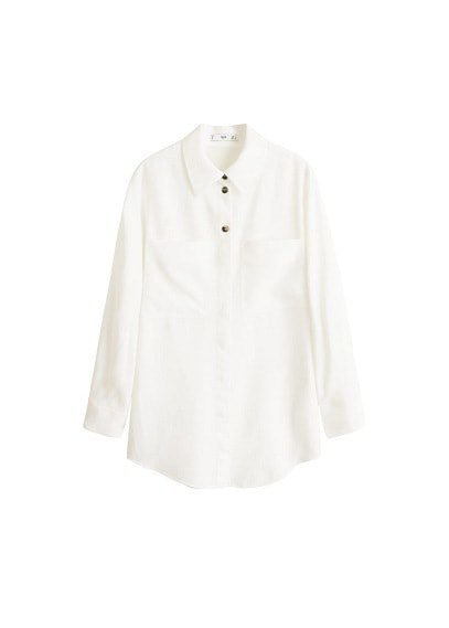 MANGO Pocket linen shirt
