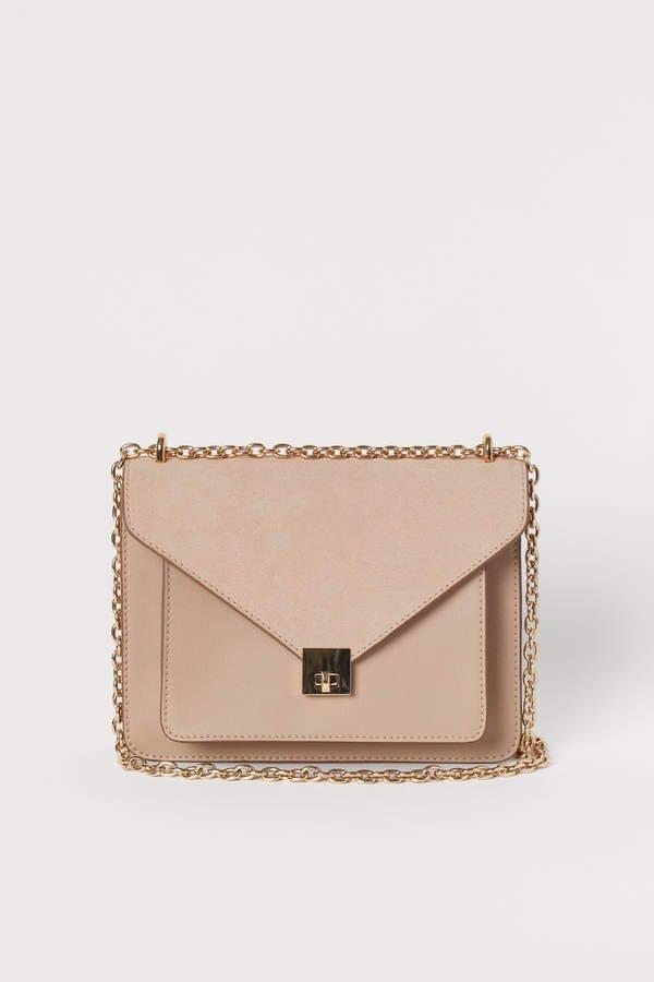 Shoulder Bag with Suede Detail - Beige