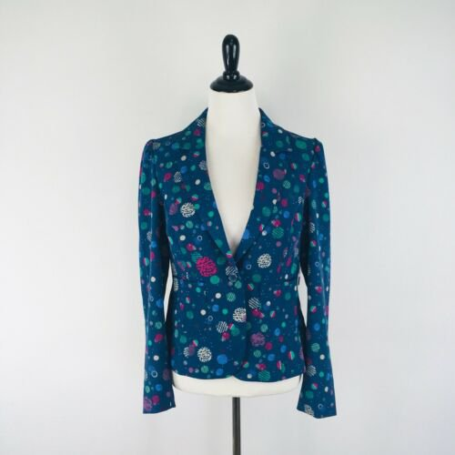 Modcloth Womens Jacket Size L Large Blazer Blue Polka Dot Space Button Retro | eBay
