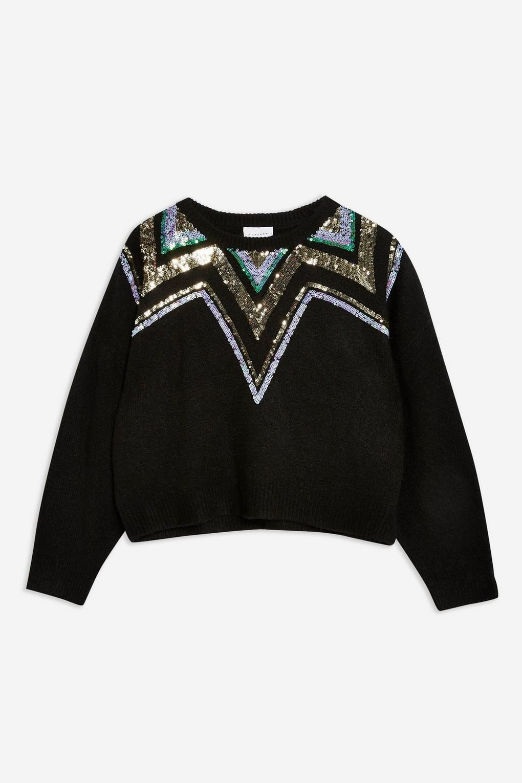Sequin Yoke Fair Isle Jumper - Sweaters & Knits - Clothing - Topshop USA