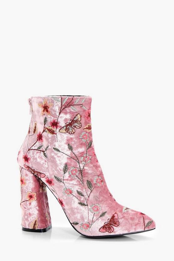 Embroidered Velvet Ankle Boot | Boohoo