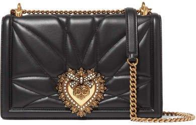 Devotion Embellished Quilted Leather Shoulder Bag - Black