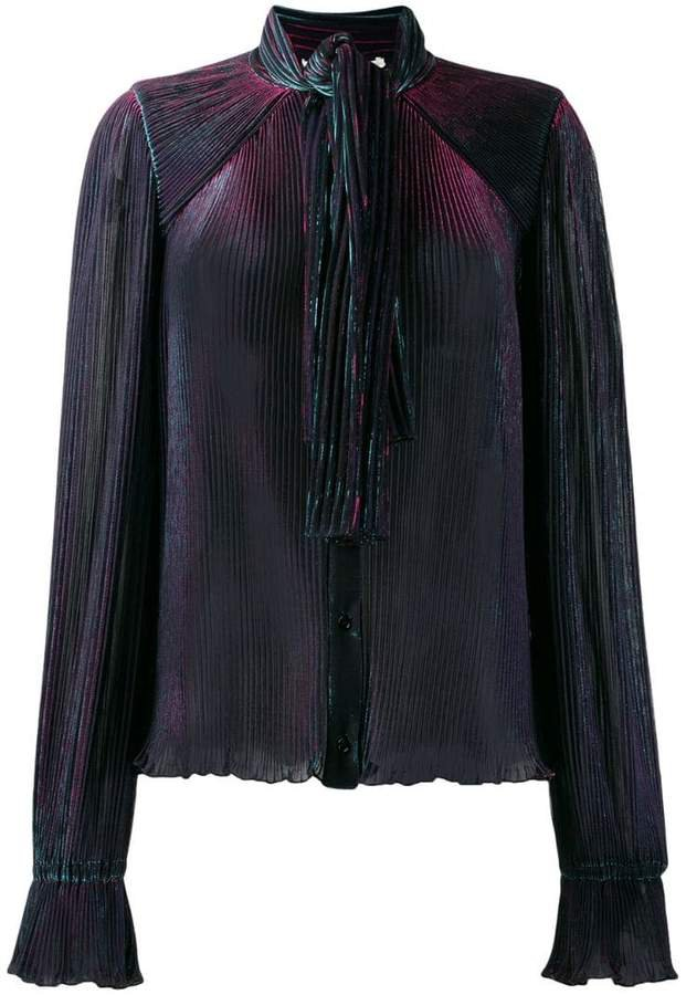 pleated neck-tied blouse